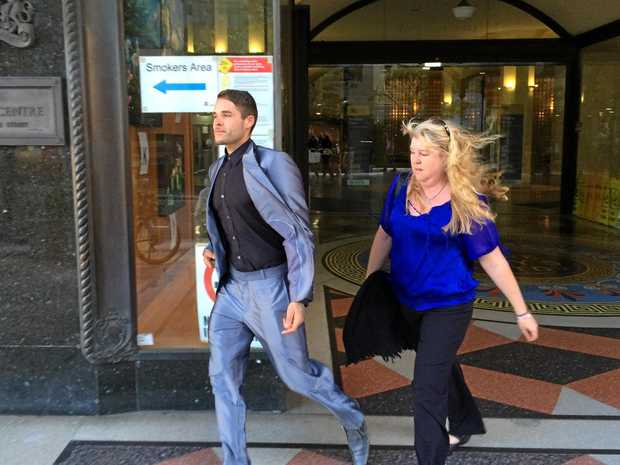 Alleged police bashing victim Corey Barker and his mother Angelique Sines leave the Sydney Downing Centre courts after giving evidence against six officers accused of assaulting him and lying in court.