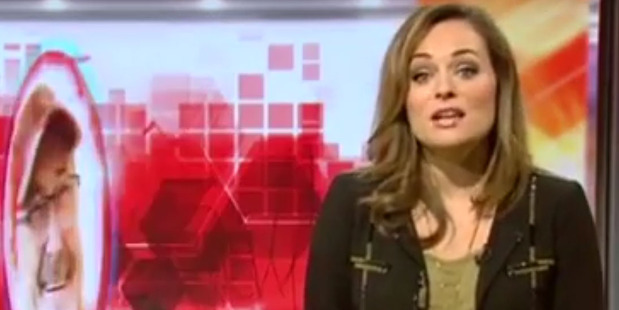 Victoria Fritz reads a bulletin on BBC Breakfast moments before her waters broke. Photo/YouTube