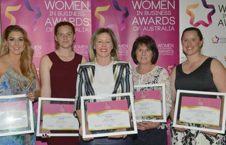 Celebrating wins in the annual Downs Women in Business Awards are (from left) Beau Minnett, Victoria Harris, Melissa Taylor, Maddie Burton and Aleacia Olm.