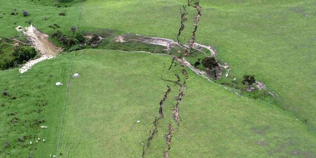 Ruptures in farmland around Conway near Kaikoura. Photo: SNPA / David Alexander