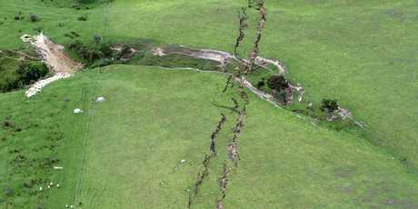 Ruptures in farmland around Conway near Kaikoura. Photo: SNPA / David Alexander