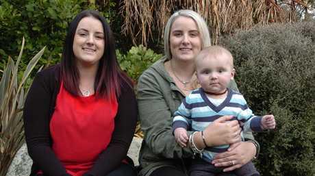 Sisters Lana and Zara Schofield, with baby son Regan.