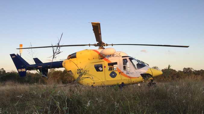 A girl has been airlifted from Maryborough after she was reportedly bitten on the face by her family dog.