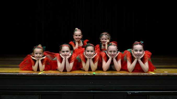 Preparing for the Sharon Sideny School of Dance Christmas Concert are, from left front, Amaya Assenhimer, 7, Indigo Scanlan, 8, Jellian Doohan, 8, Layla Denmeade, 8, Katariina Bennett, 8. From back left, Jada Lamerton, 6, and Esther Gilbert, 7.