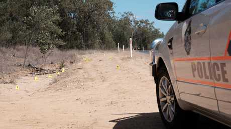 Police markers near where the 21-year-old was allegedly shot on Auburn Road, outside Chinchilla.