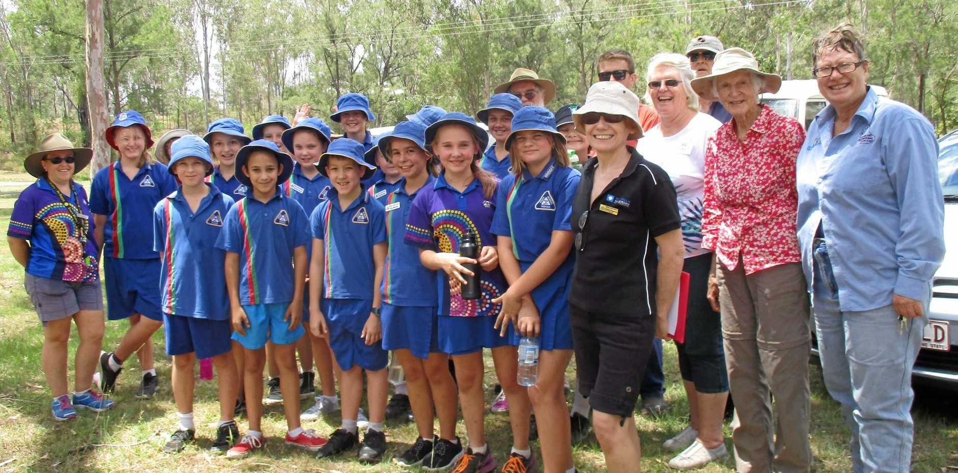 CONSERVING: Widgee students, teachers and Gympie Landcare members at Webb Park on Wednesday.