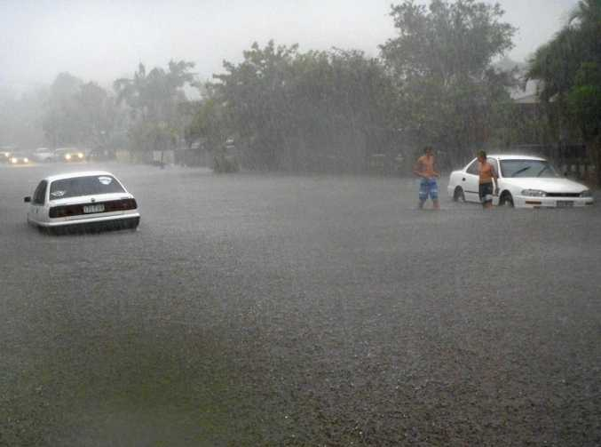 FLOODING RAIN: A road at Mooloolaba goes under in March, 2012.