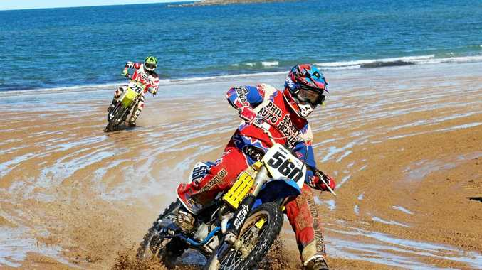 Damien Koppe takes the final corner of the King of the Beach race in 2016.