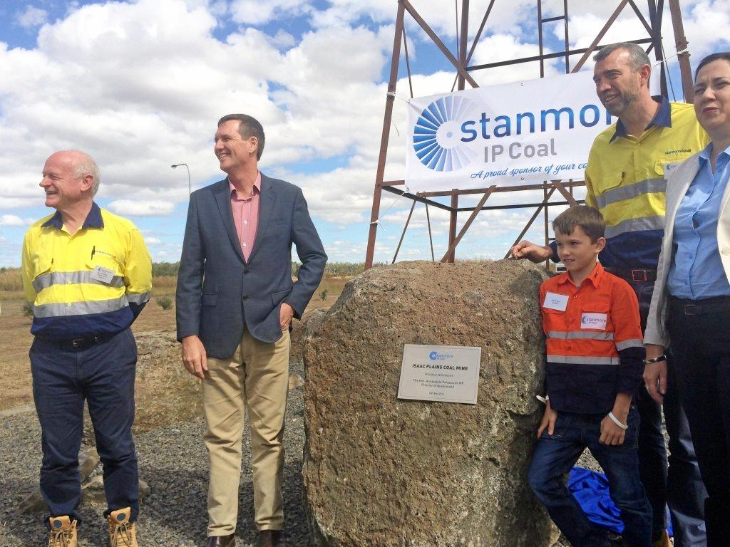 Stanmore Coal's Nick Jorss, Premier Annastacia Palaszczuk and Minister for Natural Resources and Mines of Queensland Dr Anthony Lynham at Isaac Plains mine opening. Photo Emily Smith / Daily Mercury