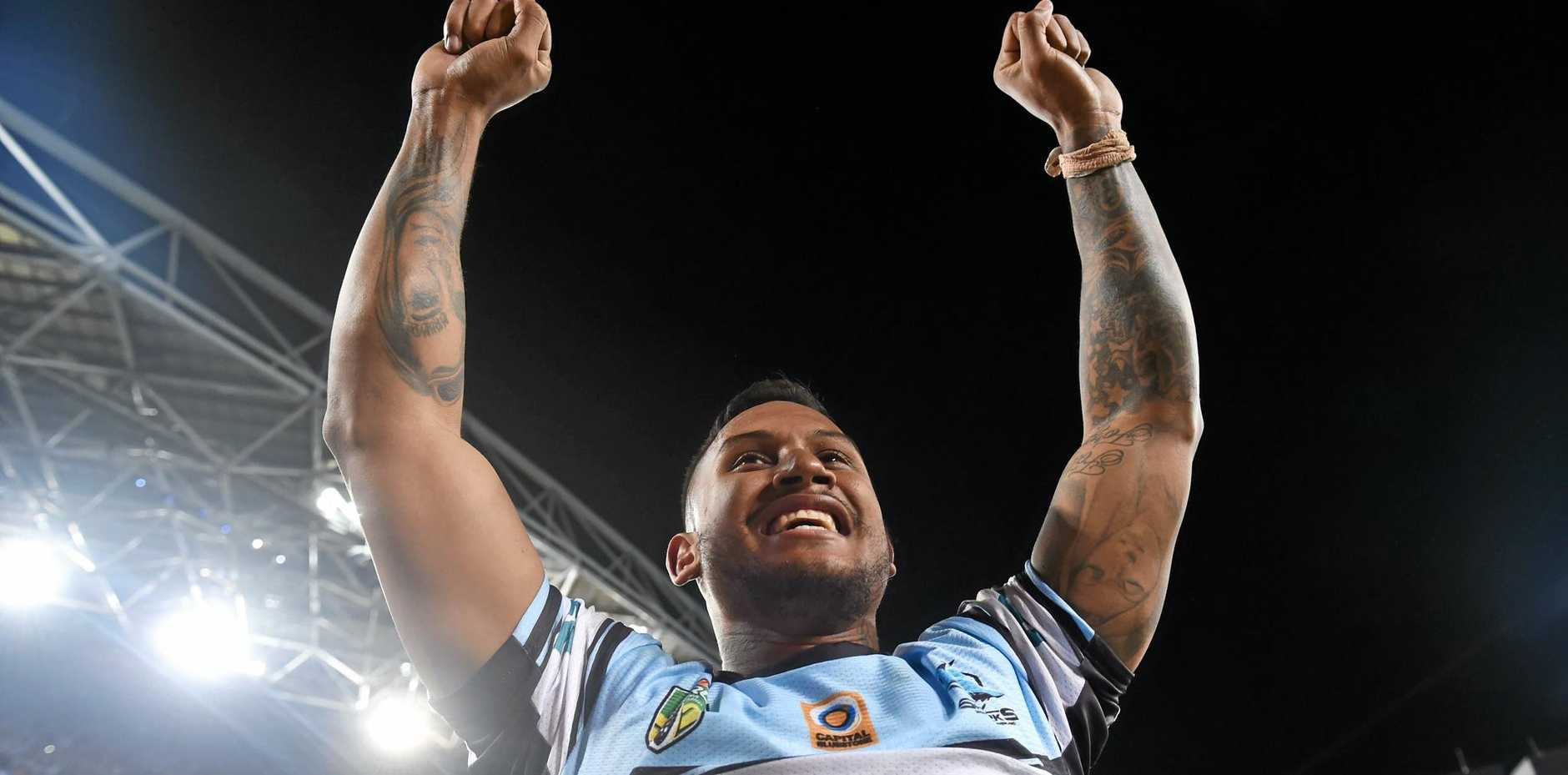 Ben Barba of the Sharks celebrates their win in the NRL grand final.