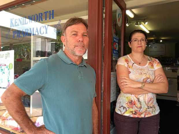 Kenilworth Chamber of Commerce president Gary Govan and Kenilworth Pharmacy owner Astrid Paget pictured during the town's long campaign to secure a doctor to town.