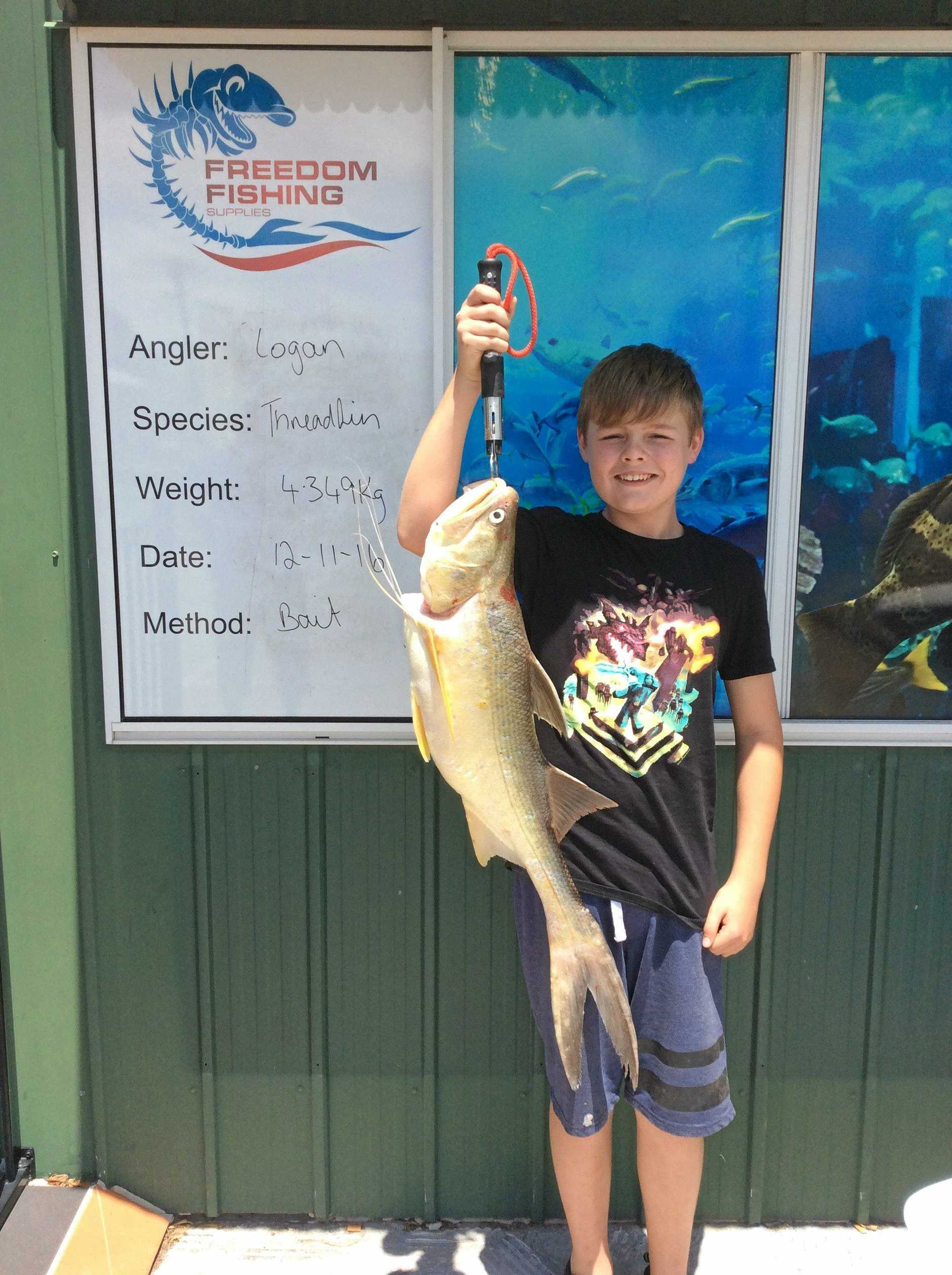 Young Logan was chuffed to land his first threadfin. It weighed in at 4.34kg and he out-fished his Dad.