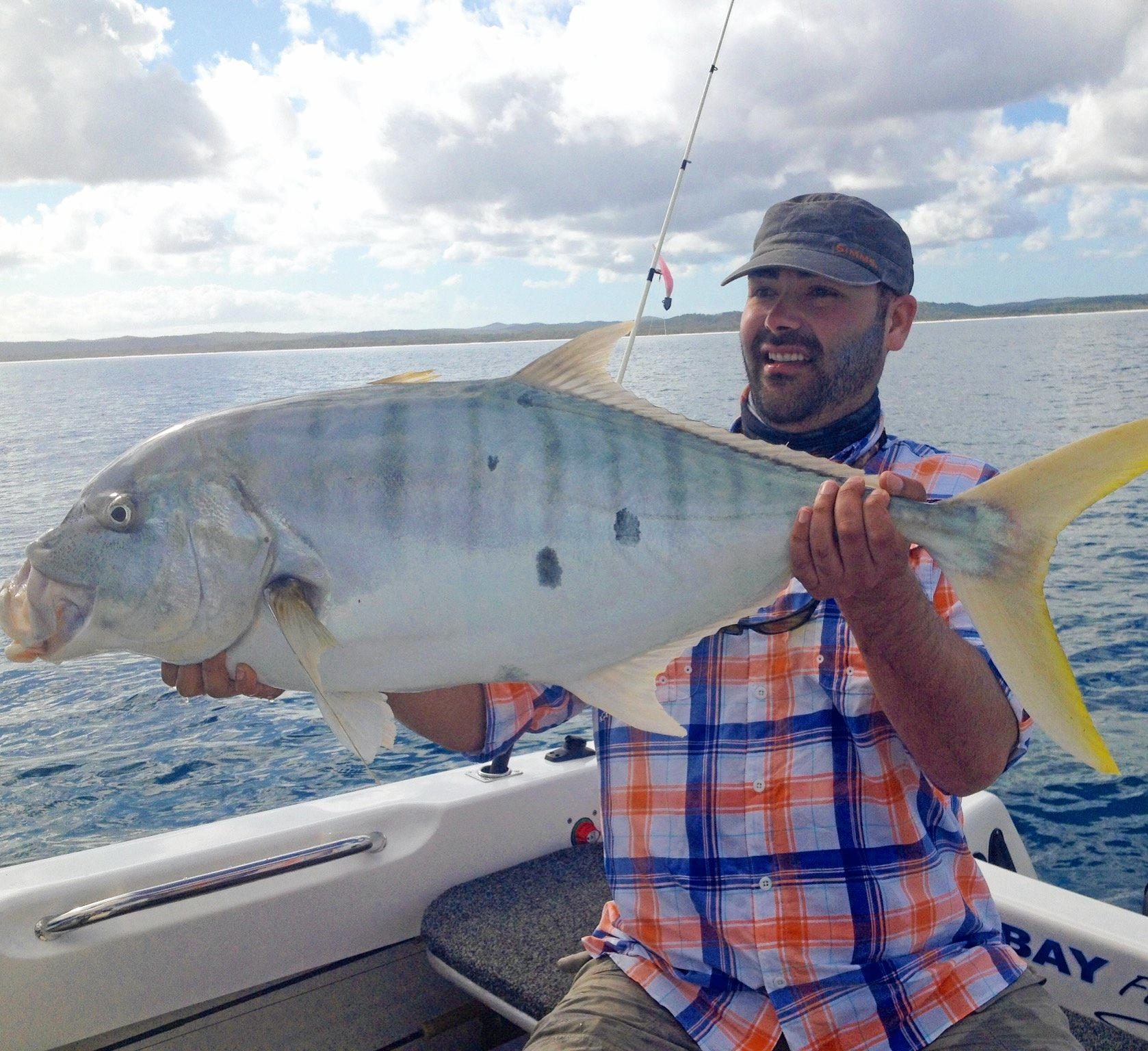 BIG HAUL: Kevin from Melbourne had a fight on his hands after hooking on to this solid golden trevally.