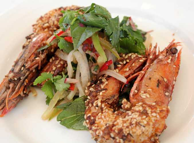 Green tiger prawns with an Asian flavour