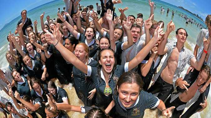 SCHOOL'S OUT: End of year 12 celebrations at Mooloolaba Beach.