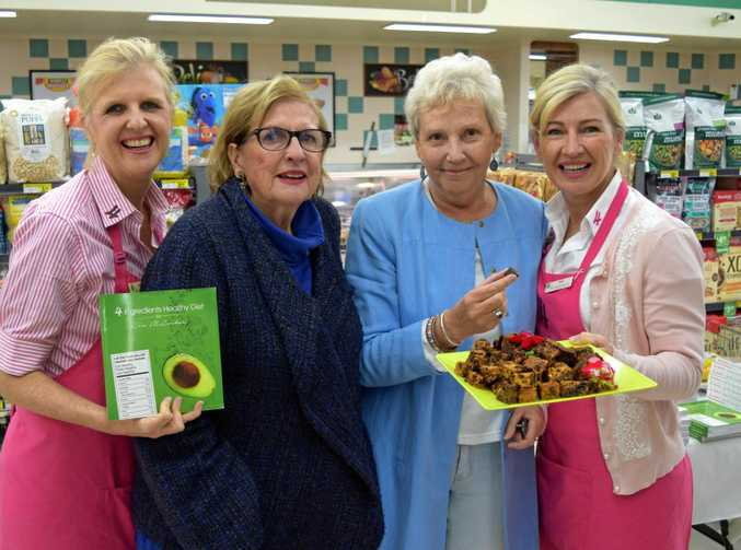 Melinda Dines with shoppers Prue Blake and Carol Pilcher and 4 Ingredients author Kim McCosker.