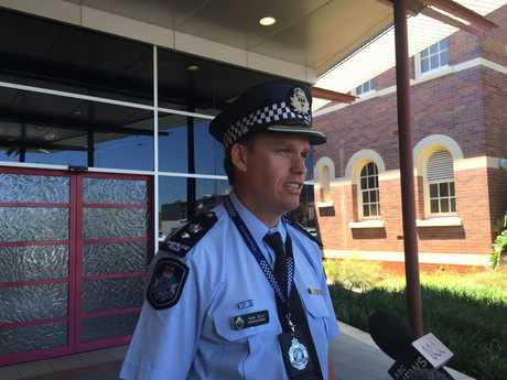 Darling Downs Police Superintendant Mark Kelly address the media in relation to a fatal police shooting at Freestone, outside Warwick.