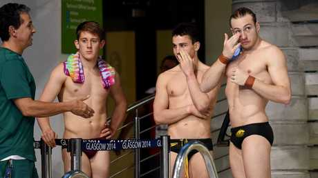 Matthew Mitcham (right) and team mate Domonic Bedggood (centre right) at the Commonwealth Games in 2014.