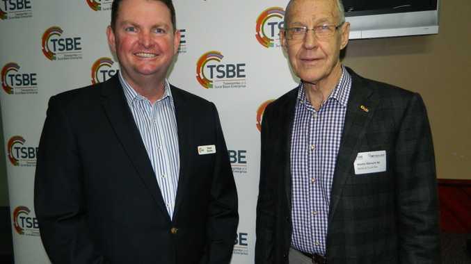 TSBE CEO Shane Charles and Martin Albrecht (National Trunk Rail). Photo Derek Barry / Surat Basin News
