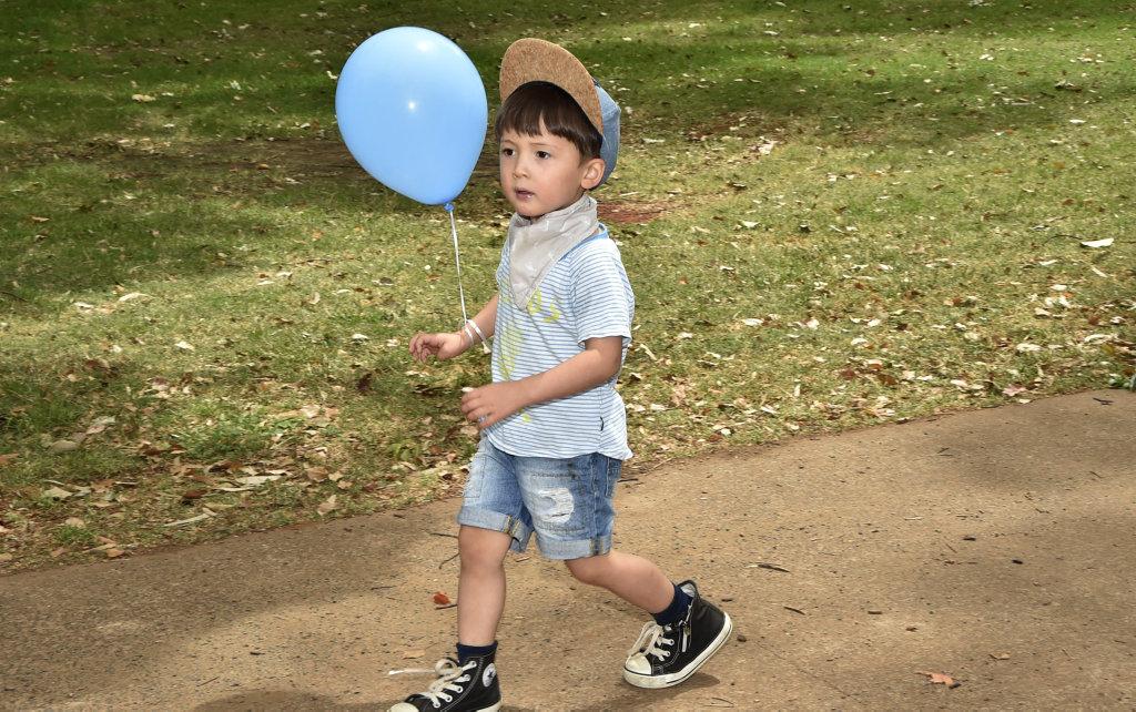 Isaac Greenwood walks at the Act for Mason Toowoomba walk at Queens Park.