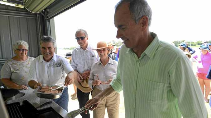From left) Shirley Kelly, Mike Gibson, Derek and Kay Alden and State MP Chris Gulpatis during the opening of the Grafton Scouts regatta and new BBQ facility on Saturday, 19th November, 2016.