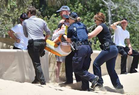 Super boat protest at Scarness Beach - Linda Hill is arrested by police.