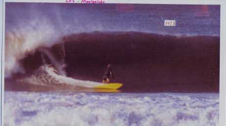 Former Sunshine Coast surfer Les Norish goes left at Mooloolaba in 1973.