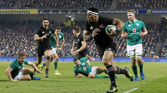 New Zealand's Malakai Fekitoa on his way to scoring against Ireland at Aviva Stadium in Dublin.