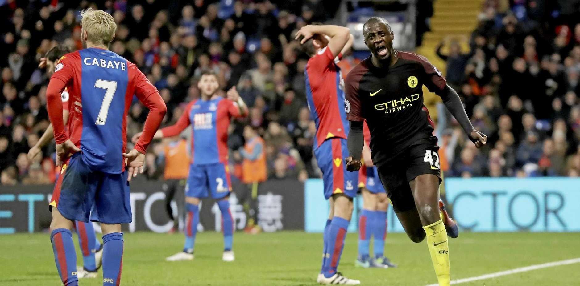 Manchester City's Yaya Toure celebrates scoring his side's second goal against Crystal Palace.