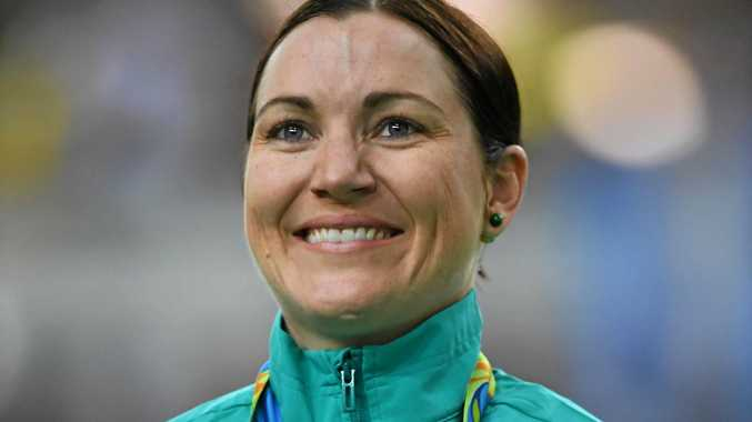 Australia's Anna Meares looks on after being presented with the bronze medal after placing third in the final of the Women's Keirin at the Rio Olympic Velodrome at the Rio 2016 Olympic Games.