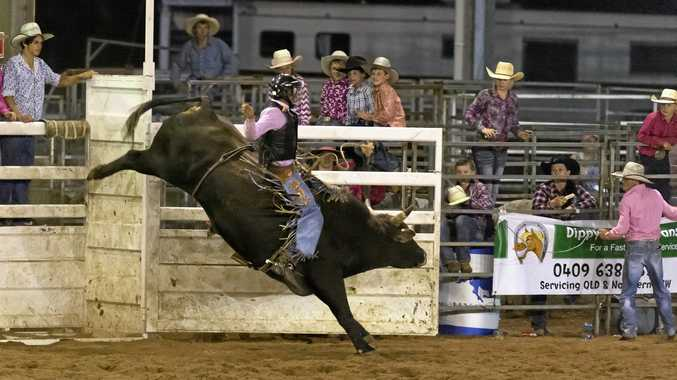 Jayden Sims on Buck Naked in the bull ride of the National Rodeo Association Finals round two at Toowoomba Showgrounds, Saturday, November 21, 2015. Photo Kevin Farmer / The Chronicle