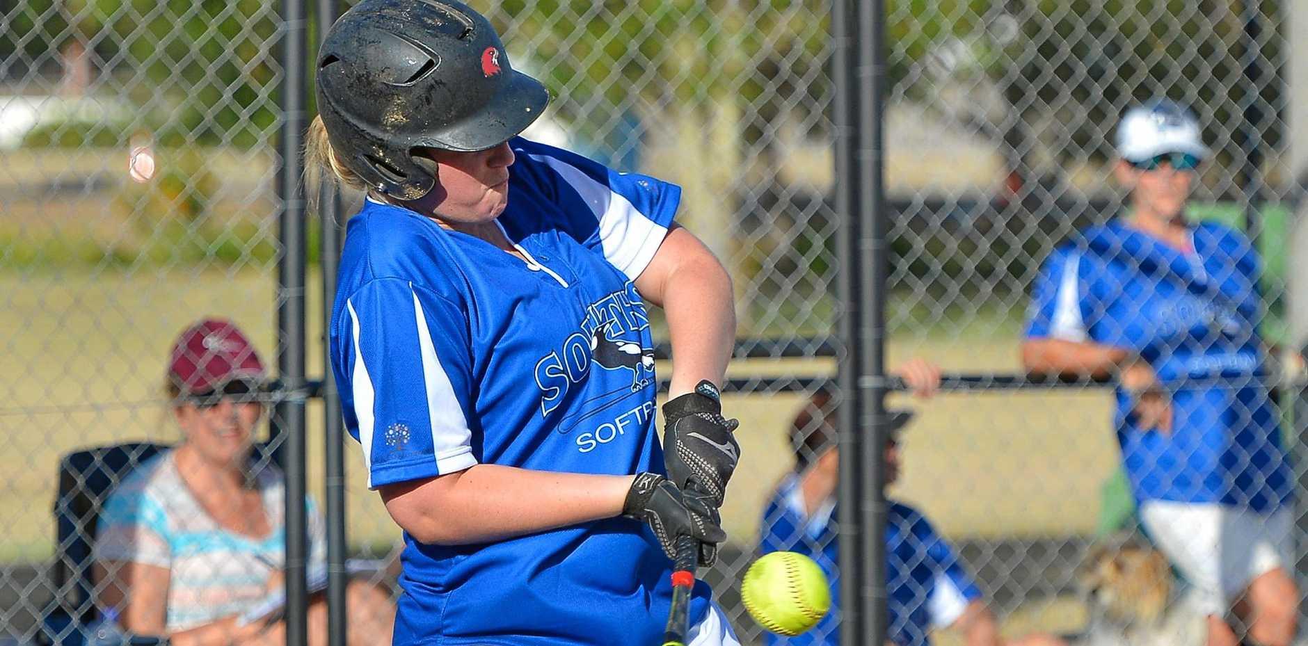 Souths Teanne Noonan keeps her eye on the ball while batting against Rockhampton.
