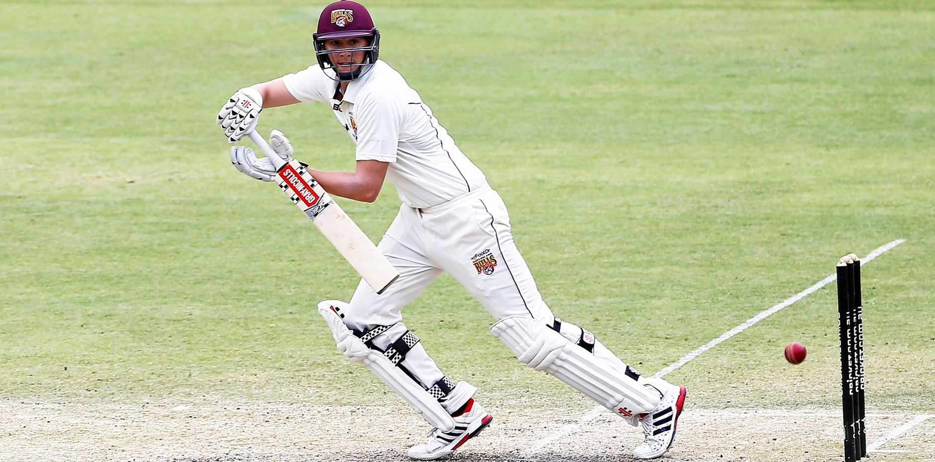Matt Renshaw of the Bulls in action during day three of the Sheffield Shield match between Queensland and South Australia at the Gabba.