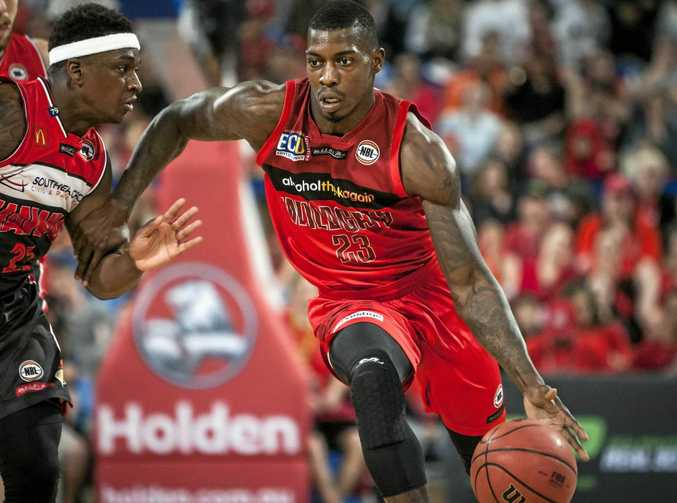 Marvelle Harris of the Illawarra Hawks and Casey Prather of the Perth Wildcats during the  NBL League match between Wildcats and the Illawarra Hawks at the Arena in Perth, on Friday, Oct. 21, 2016. The Wildcats won 80-73. (AAP Image/Tony McDonough NO ARCHIVING, EDITORIAL USE ONLY