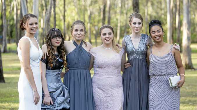 FAREWELL: Kara Burns, Saraid Quinn, Annie Delioglanis, Amber Page, Cara Bosshart, and Abbygail Donio. Senior students from St Stephens Lutheran College celebrate the end of their 2016 school year.