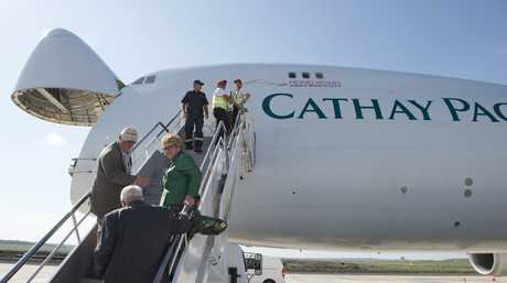 Members of the Wagner family board the Cathay Pacific 747-8 jumbo cargo plane at Wellcamp Airport bound for Hong Kong, Monday, November 23, 2015. Photo Kevin Farmer / The Chronicle