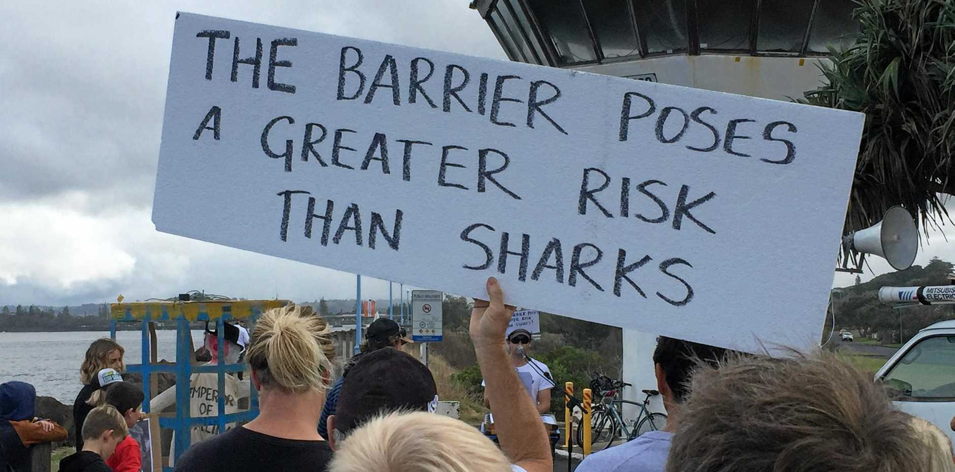Protestors gathered near the marine rescue tower in Ballina to oppose DPI plans to install a shark eco-net barrier along Lighthouse Beach