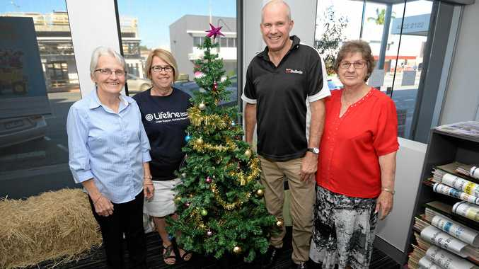 Barb Cavanagh (St Vincent De Paul), Julie Elliott (Lifeline), Frazer Pearce (Morning Bulletin) and Diana Wode (Anglicare) are calling on people to Adopt a Family this Christmas.
