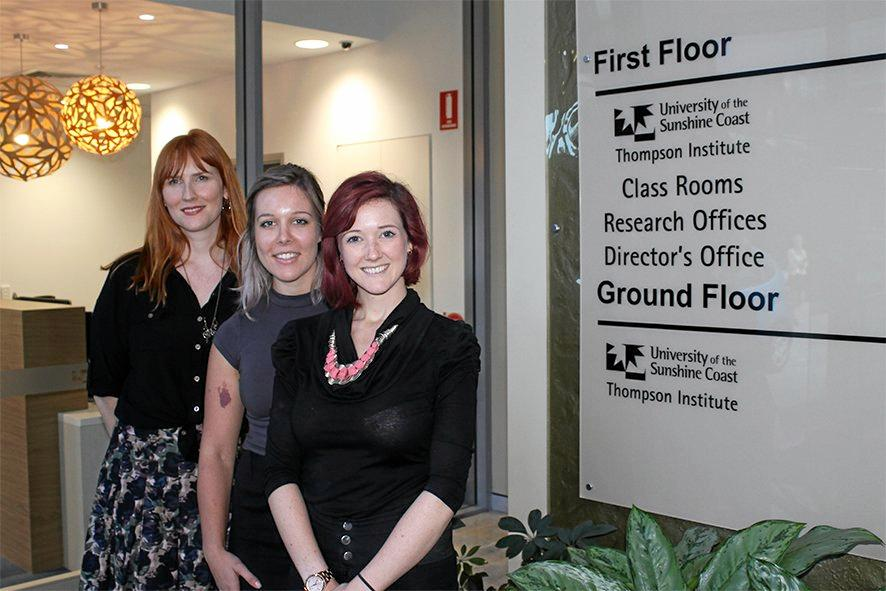 NOW OPEN: University of the Sunshine Coast psychology students Julie Paschke, Amanda Kuchel and Danielle Welch at the Thompson Institute's USC Psychology Clinic.