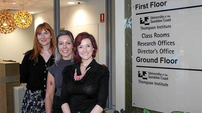NOW OPEN: University of the Sunshine Coast psychology students Julie Paschke, Amanda Kuchel and Danielle Welch at the Thompson Institute's USC Psychology Clinic.