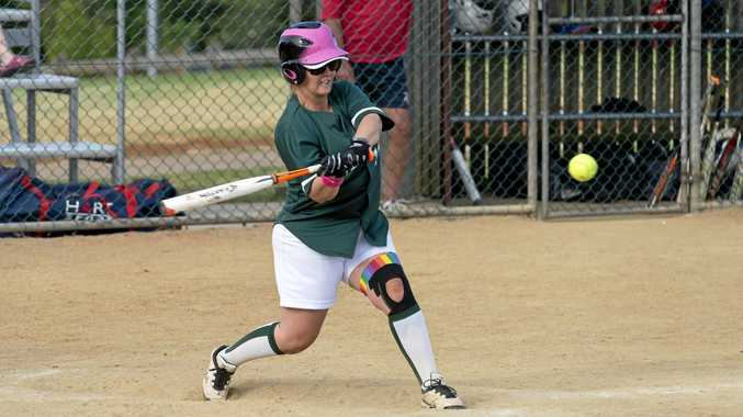 STILL IN THE HUNT: Ash Wegner hits for Warriors Green in their win against Allstars to keep them in the race for the Toowoomba Softball premiership.