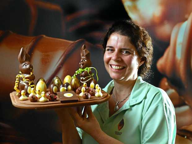 YUM: Julie Walters of Chocolate Country in Montville, with some of their Easter goods from this year, is going to start a chocolate school in the new year.