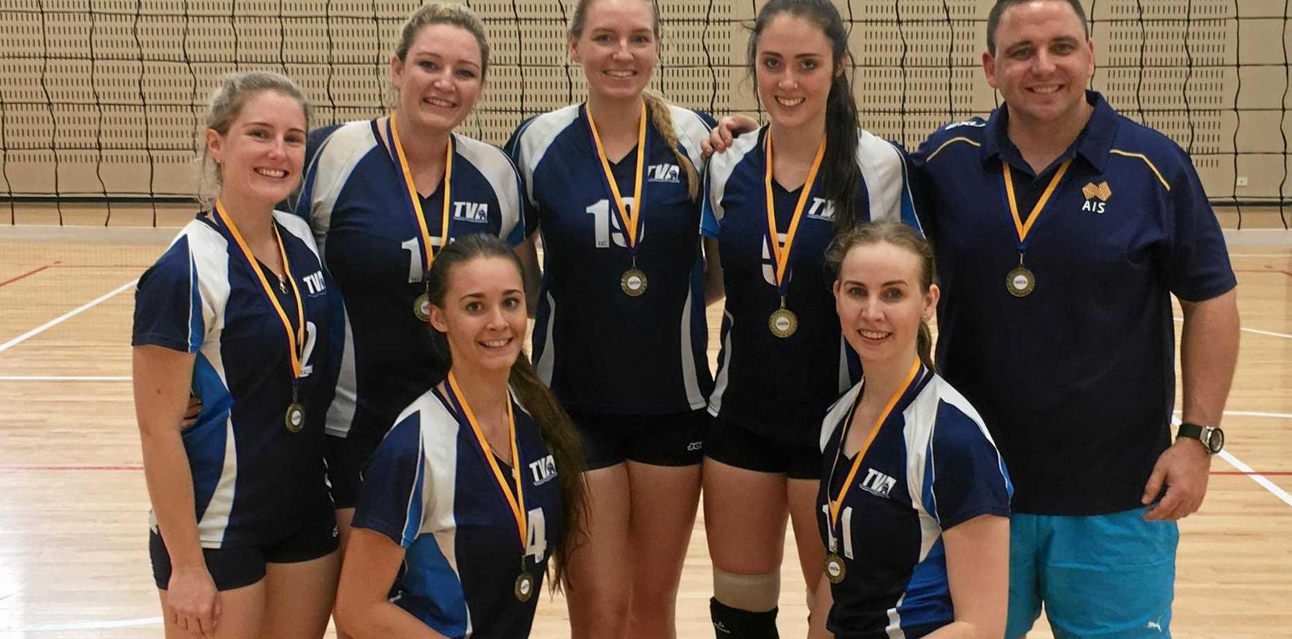 WINNERS: (from left) Cassie Thomas, Megan Auchter, Rachel Nass, Georgia Parsons, Chris Hillman, Renee Bahnisch, Kacey McEwan