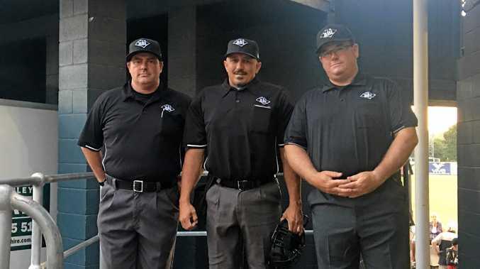 Brisbane umpire James Shield with FNC pair Paul Latta and Geoff Hallman