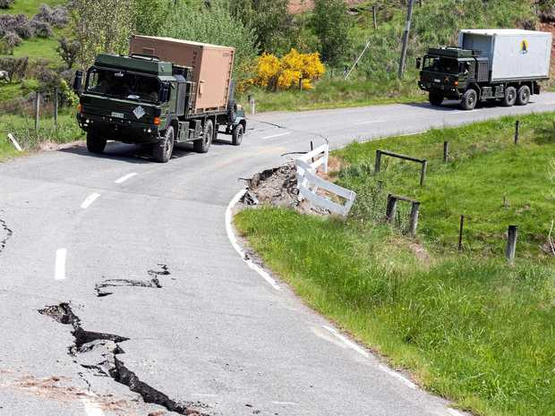A convoy loaded with supplies and support staff travels heads for Kaikoura.