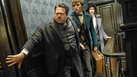 FOR REVIEW AND PREVIEW PURPOSES ONLY. Dan Fogler, Eddie Redmayne and Katherine Waterston in a scene from the movie Fantastic Beasts and Where To Find Them. Supplied by Warner Bros.