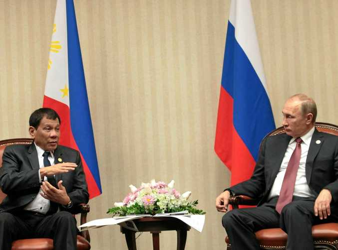 Philippine President Rodrigo Duterte meets with Russian President Vladimir Putin on the sidelines of the Asia-Pacific Economic Cooperation (APEC) Leaders' Summit in Lima, Peru.