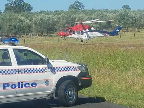 Police at the scene of a fatal traffic crash at Kalbar on Monday morning.