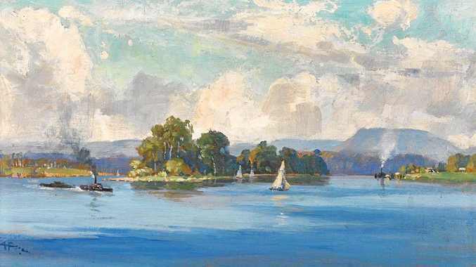 MAGICAL SCENE: Susan Island on the Clarence River, Grafton painted by A H Fullwood in 1894. The painting captures the big sky of the Clarence Valley through using a low horizon and the high level of activity on the river.