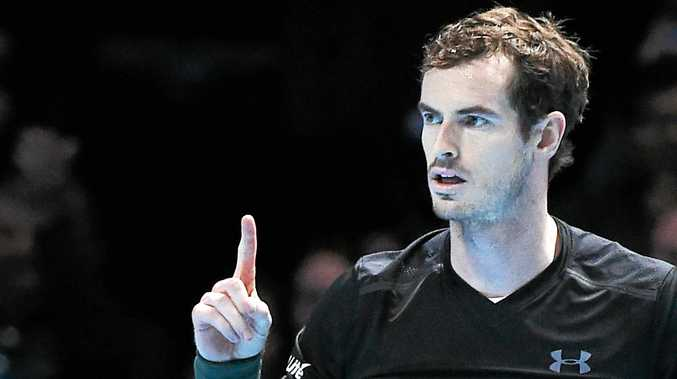 Britain's Andy Murray reacts during his win over Novak Djokovic of Serbia during the final of the ATP World Tour Finals at the O2 Arena in London.